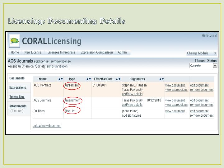 Licensing: Documenting Details