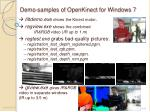 demo samples of openkinect for windows 7