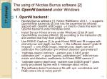 the using of nicolas burrus software 2 with openni backend under windows
