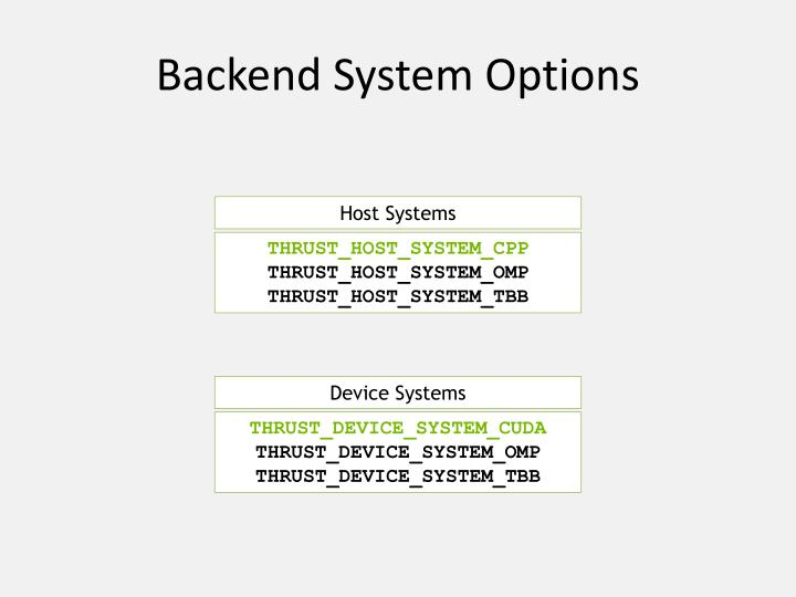 Backend System Options