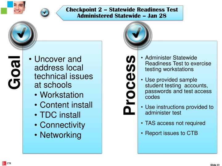 Checkpoint 2 – Statewide Site Readiness Test