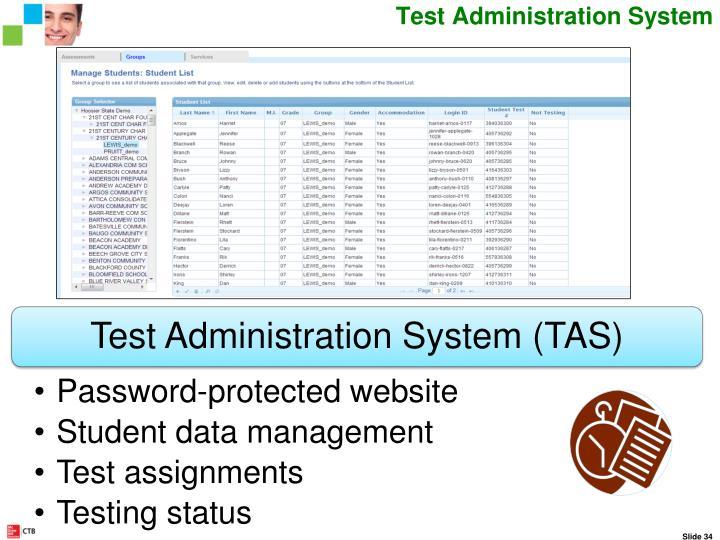Test Administration System Website
