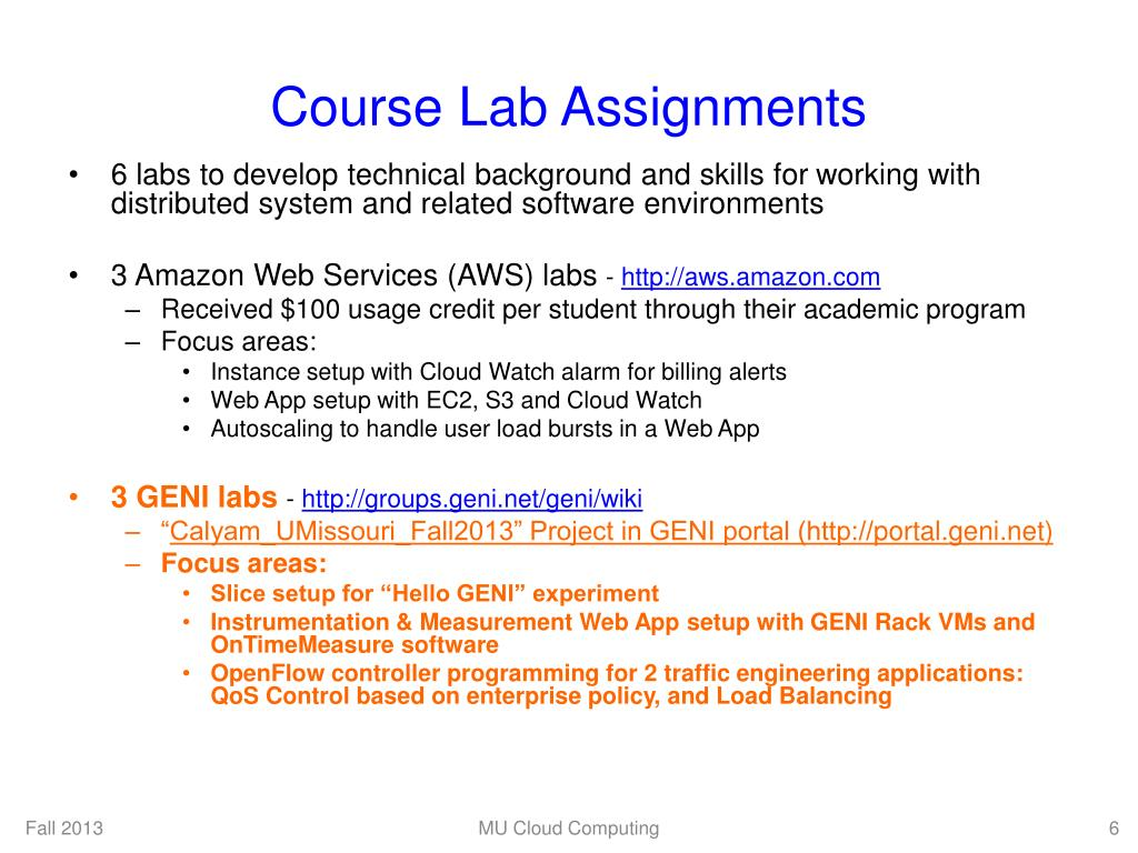 PPT - GENI Laboratory Exercises for a Cloud Computing course