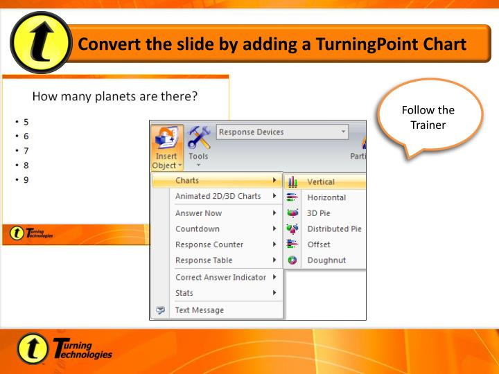 Convert the slide by adding a TurningPoint Chart