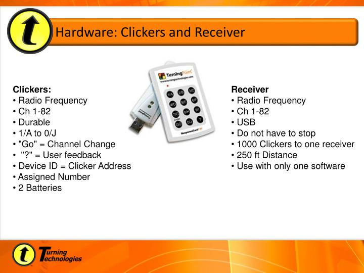 Hardware clickers and receiver