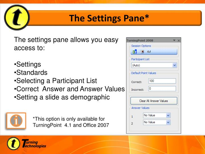 The Settings Pane*