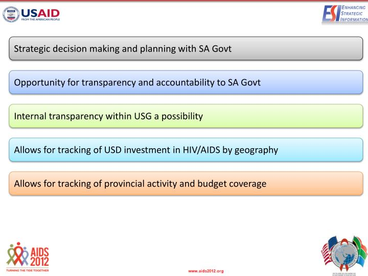Strategic decision making and planning with SA Govt