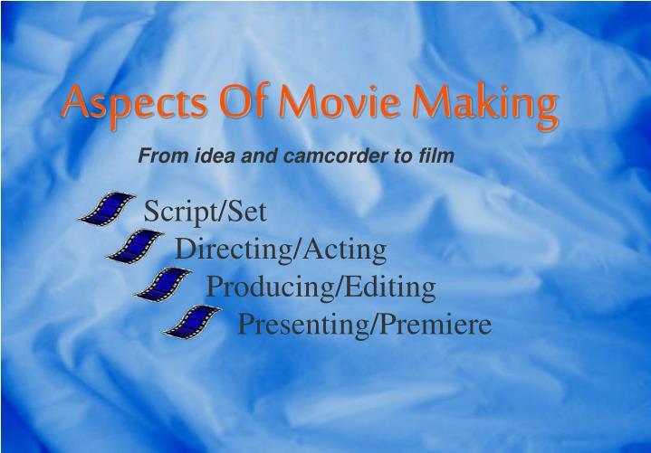 Script set directing acting producing editing presenting premiere