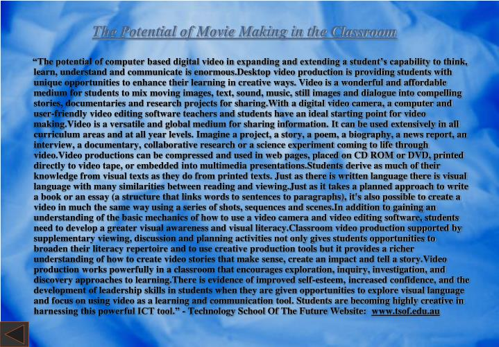 The Potential of Movie Making in the Classroom
