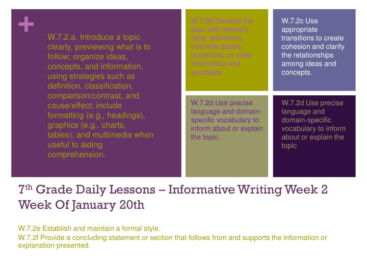 7 th grade daily lessons informative writing week 2 week of january 20th n.