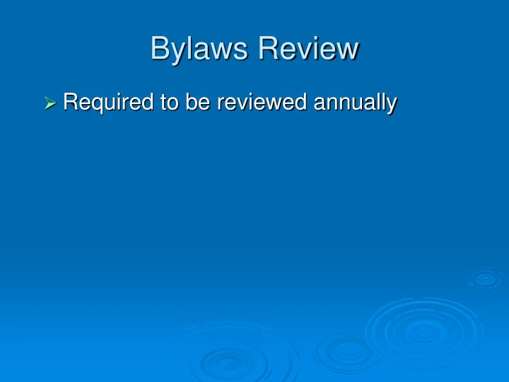 Bylaws Review