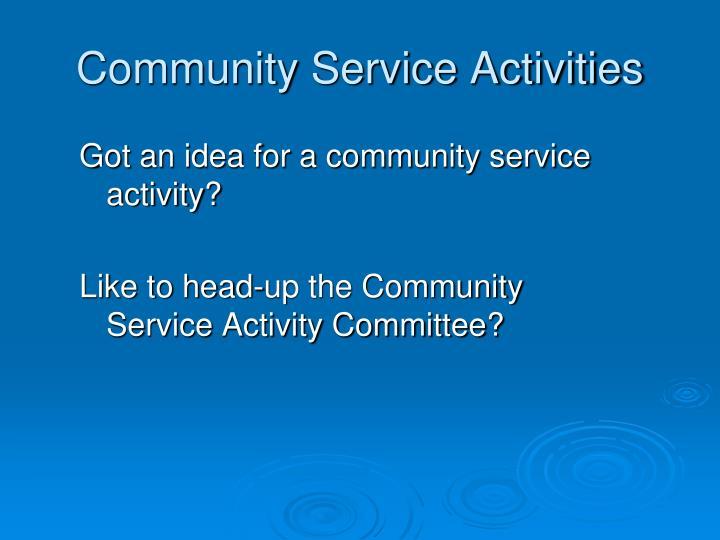 Community Service Activities
