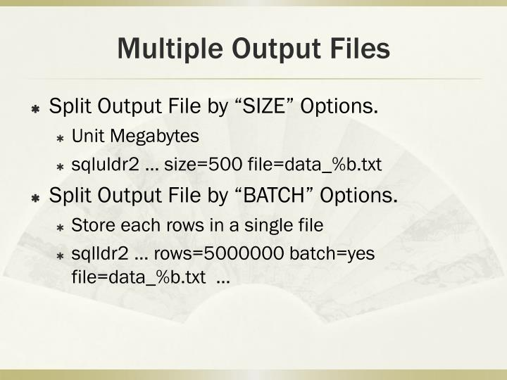 Multiple Output Files