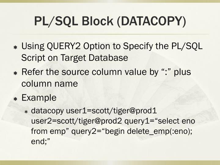 PL/SQL Block (DATACOPY)