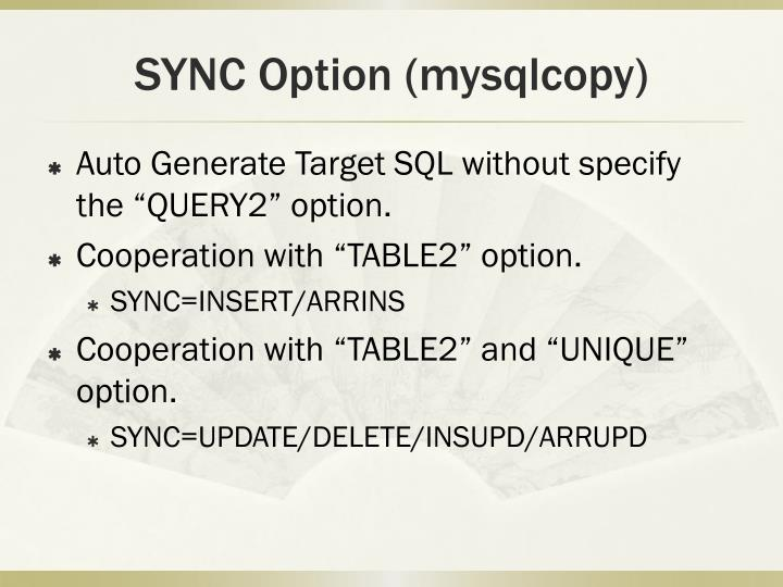 SYNC Option (