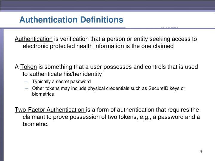 Authentication Definitions