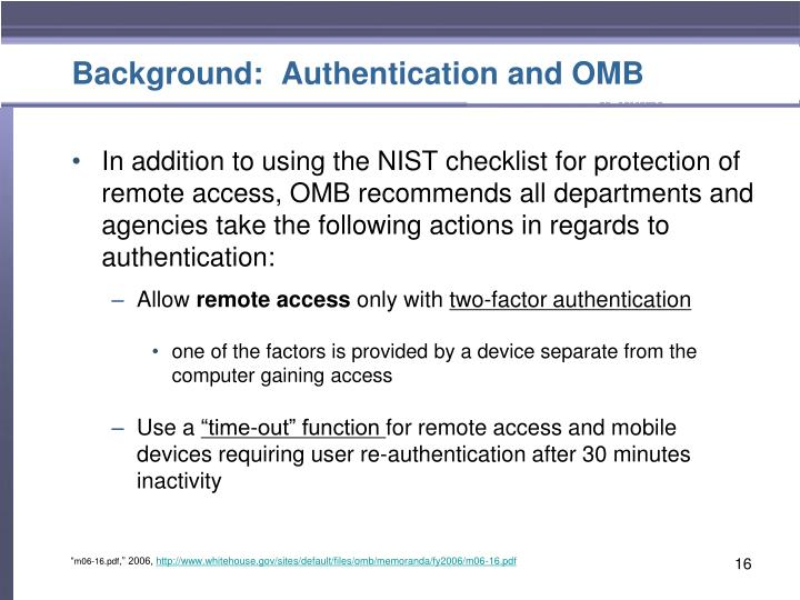Background:  Authentication and OMB