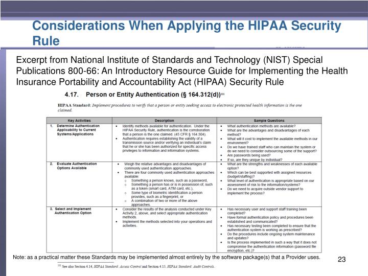 Considerations When Applying the HIPAA Security Rule