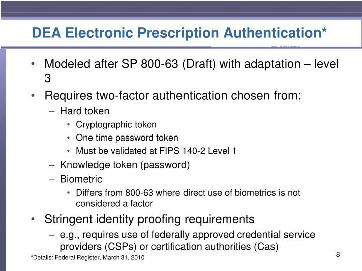 DEA Electronic Prescription Authentication*