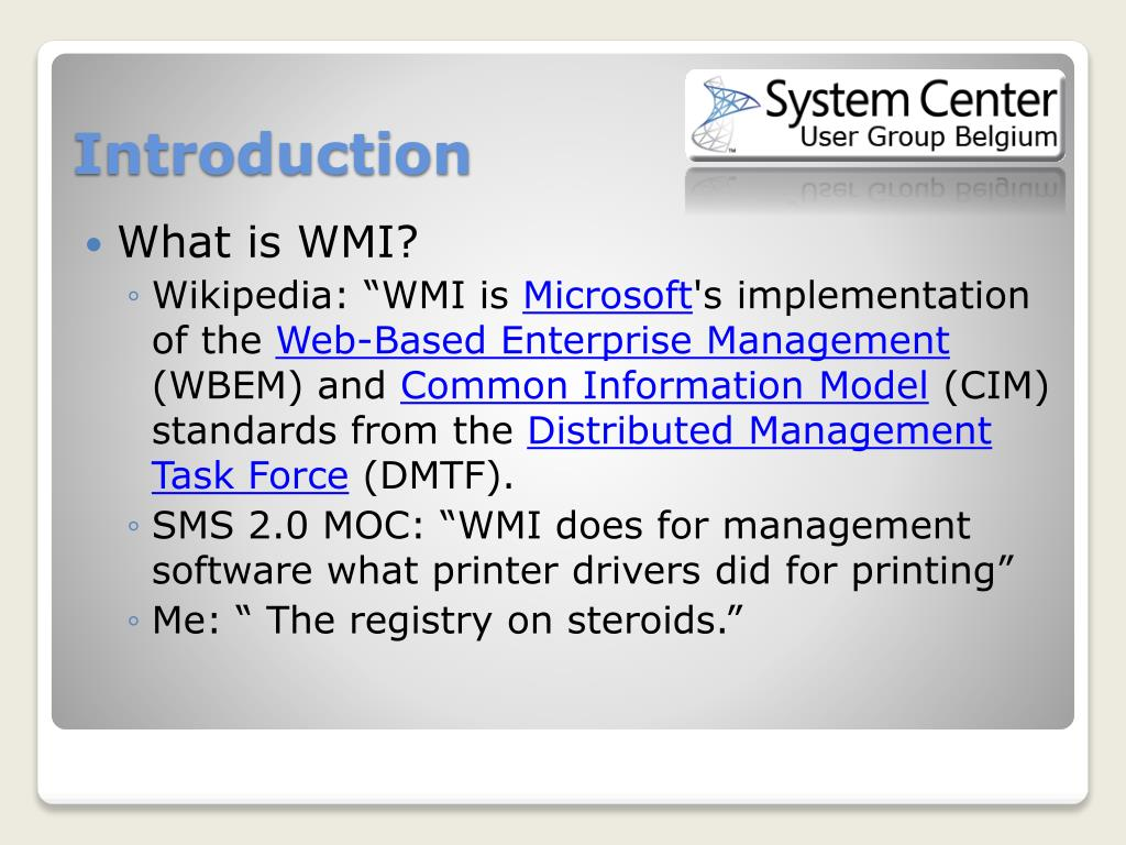 PPT - WMI For the System Center Configuration manager 2007