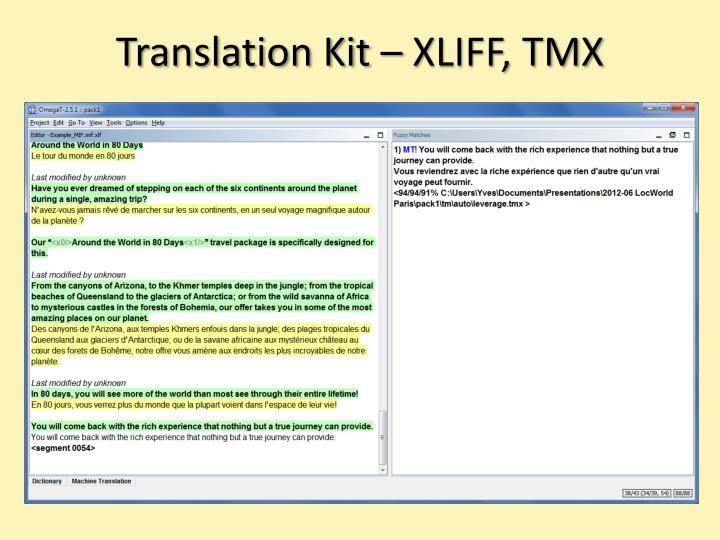 Translation Kit – XLIFF, TMX