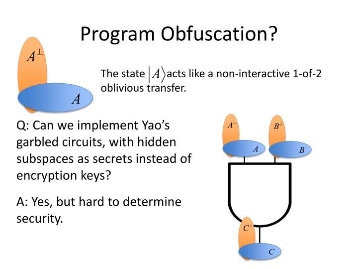 Program Obfuscation?