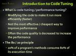 introduction to code tuning