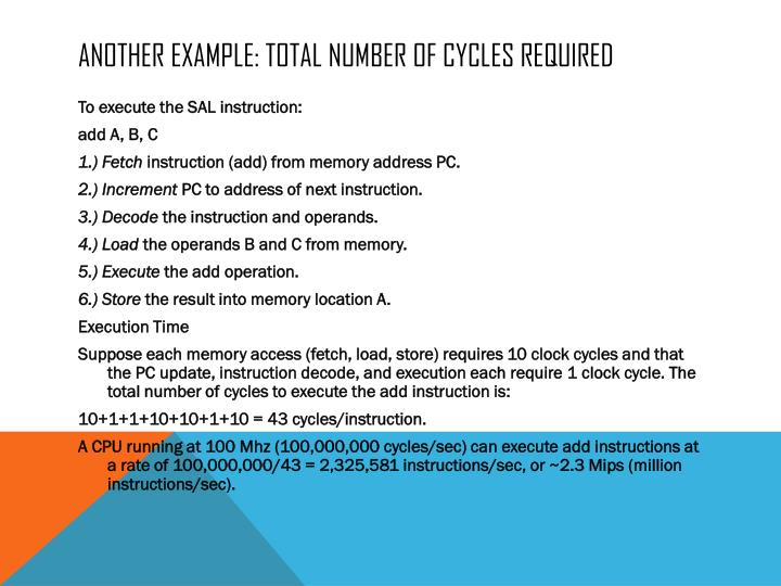 Another example: total number of cycles required