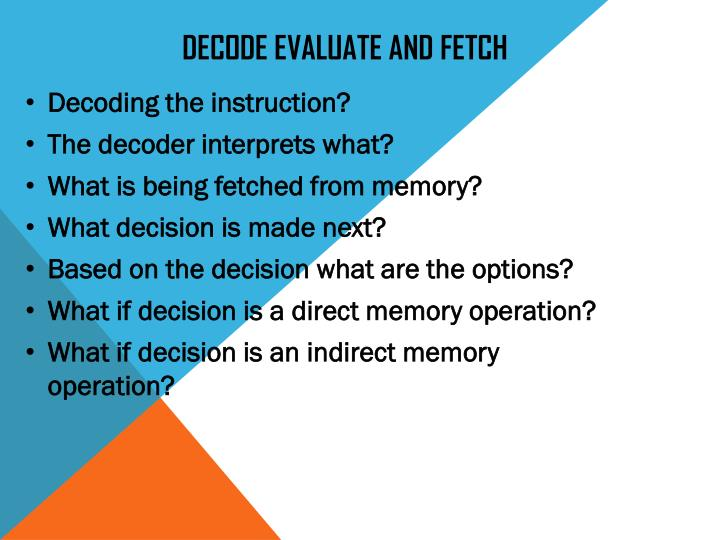 DECODE EVALUATE AND FETCH