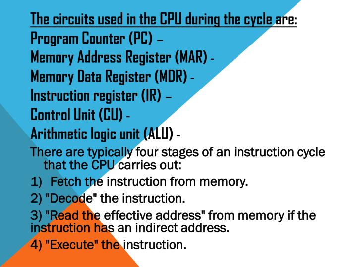 The circuits used in the CPU during the cycle are: