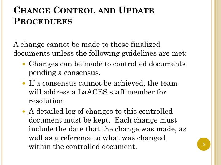 Change Control and Update Procedures