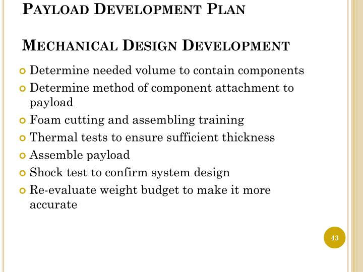 Payload Development Plan