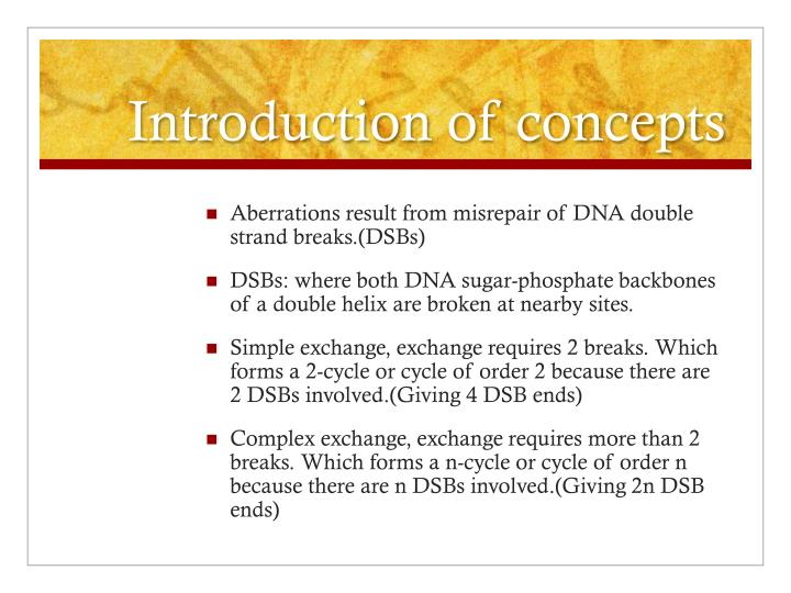 Introduction of concepts