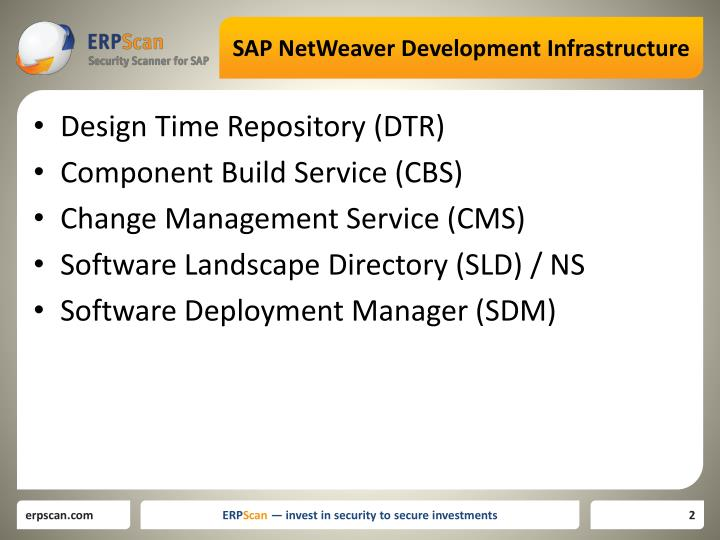 Sap netweaver development infrastructure