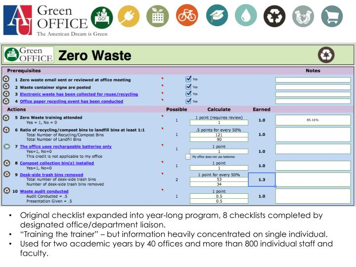 Original checklist expanded into year-long program, 8 checklists completed by designated office/department liaison.