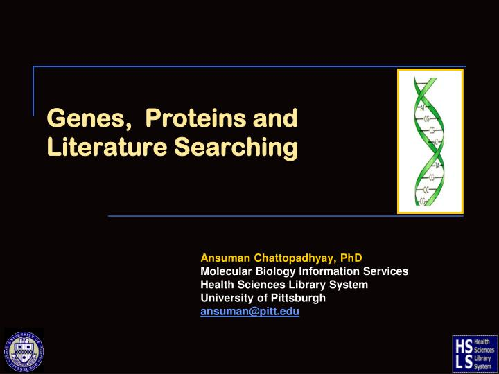 genes proteins and literature searching n.