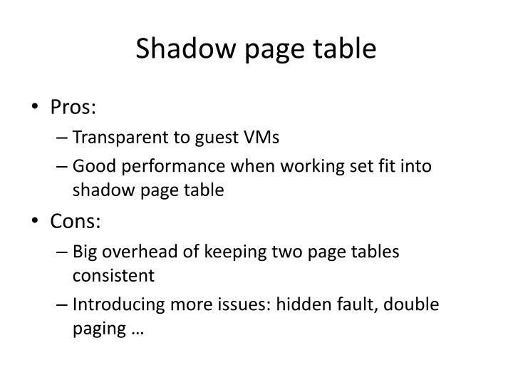 Shadow page table