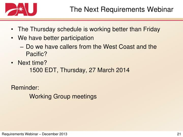 The Next Requirements Webinar