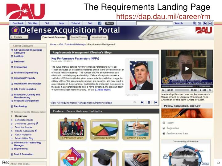 The Requirements Landing Page