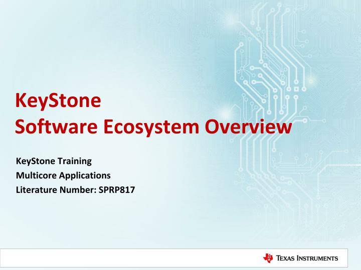 keystone software ecosystem overview n.