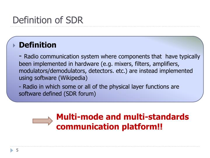 Definition of SDR