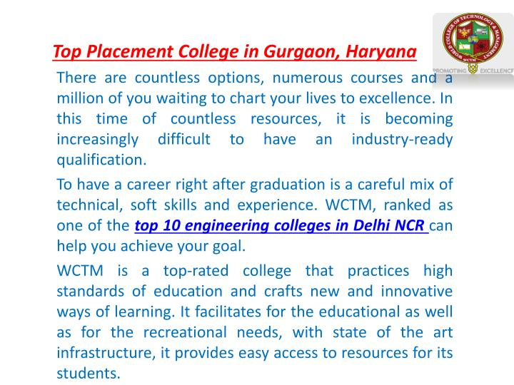 top placement college in gurgaon haryana n.