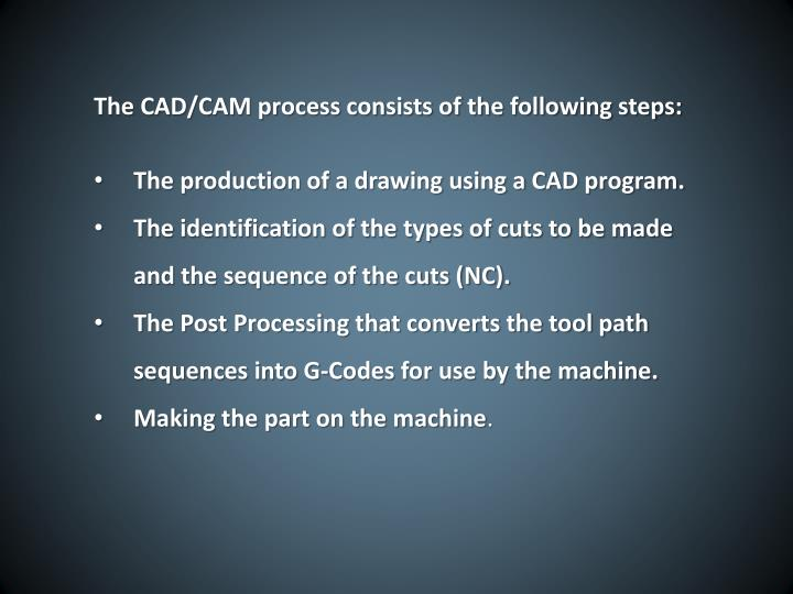 The CAD/CAM process consists of the following steps:
