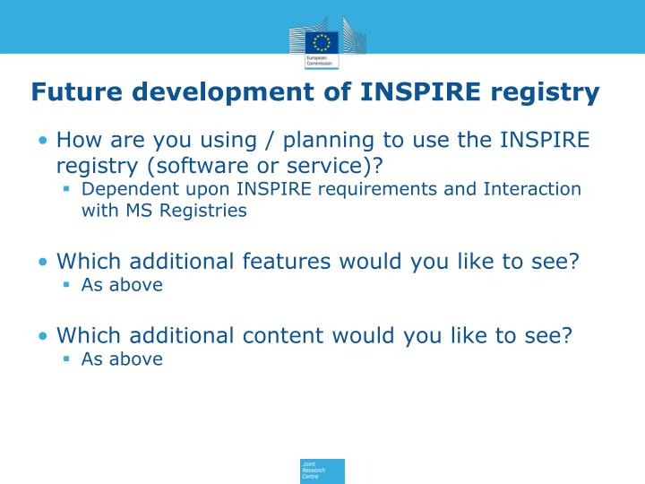 Future development of INSPIRE registry