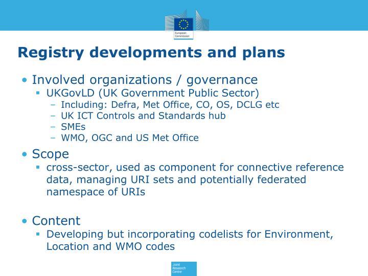Registry developments and plans