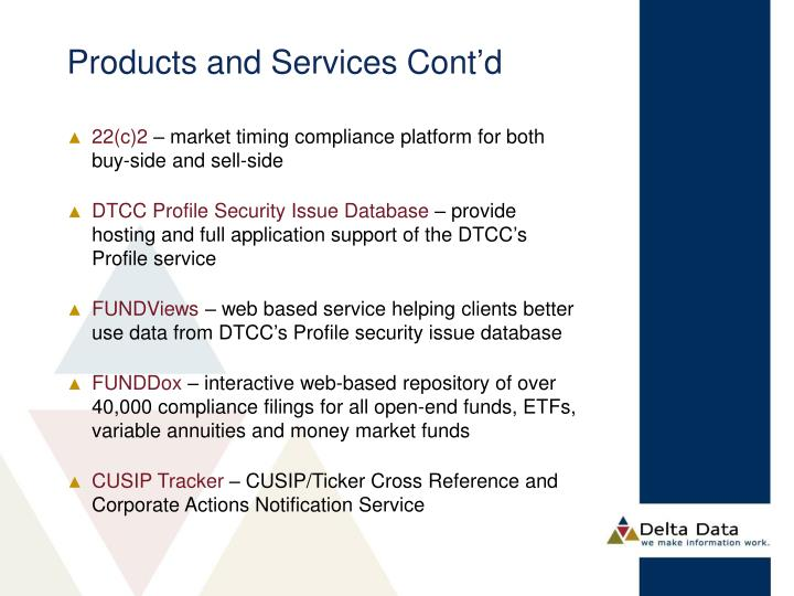 Products and Services Cont