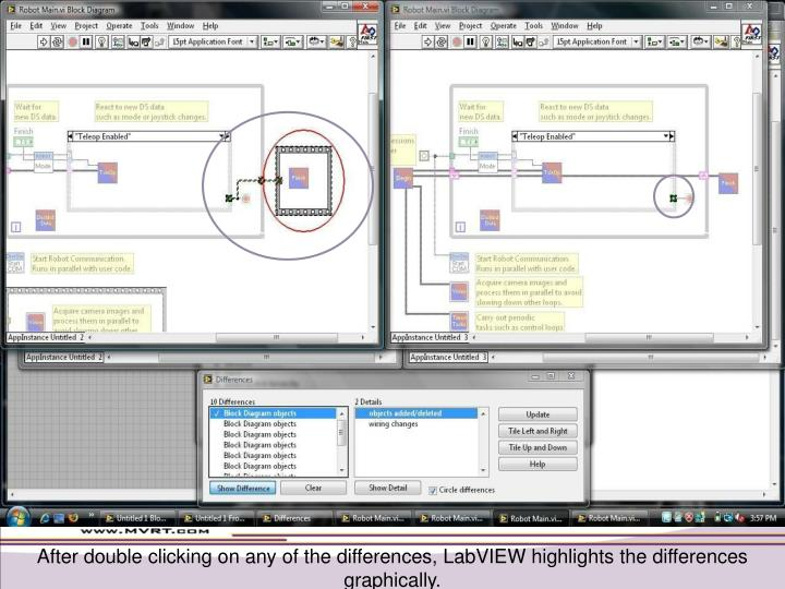 After double clicking on any of the differences, LabVIEW highlights the differences graphically.