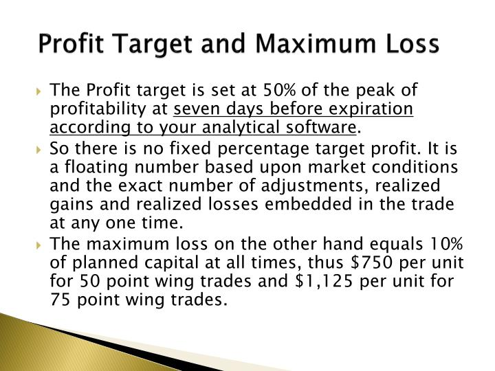 Profit Target and Maximum Loss