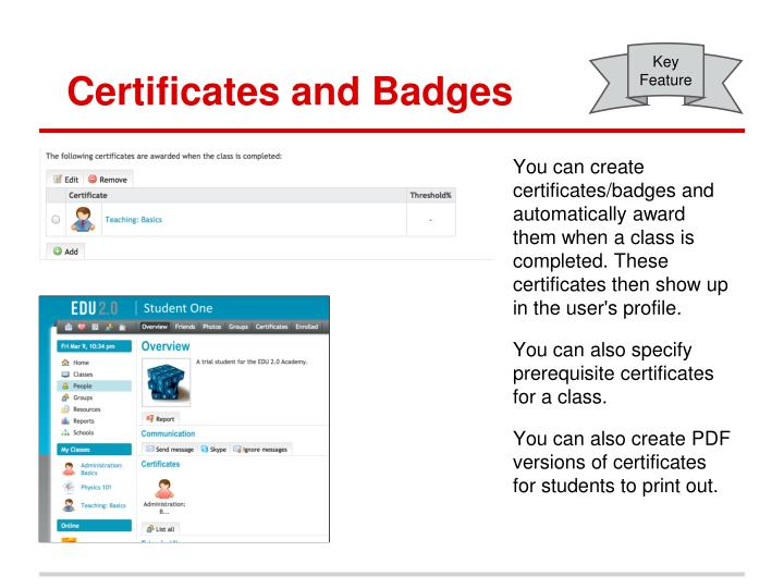 Certificates and Badges