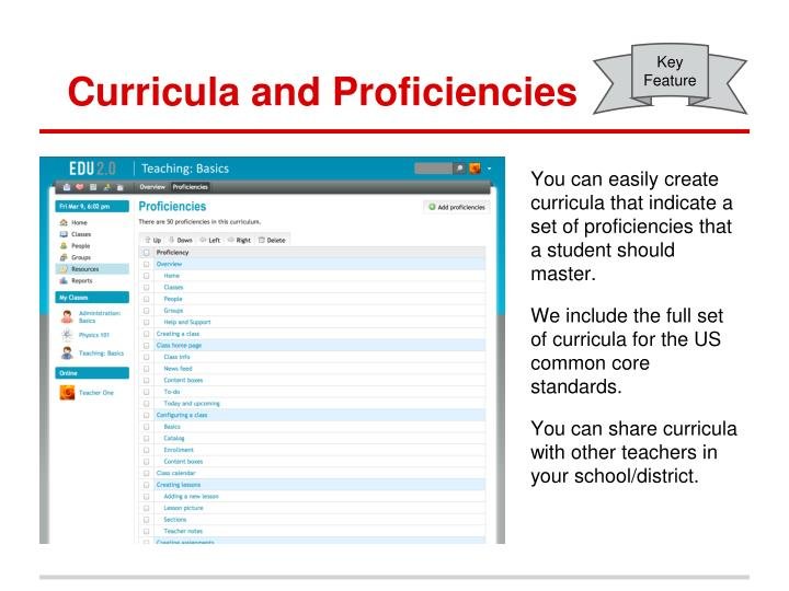 Curricula and Proficiencies